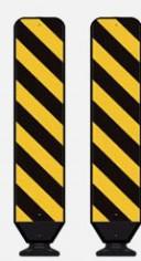 Road warning diagonal stripes black on yellow